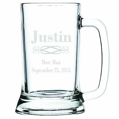 Personalized Beer (Engraved Customized Personalized Beer Mug Glass Groomsman - Best Man -)