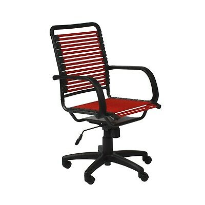 Contemporary Black Red Flat Bungie Bungee High Back Desk Soft Arms Task Chair