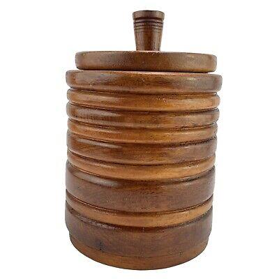 Vintage Turned Wooden Jar Lidded Pot Container