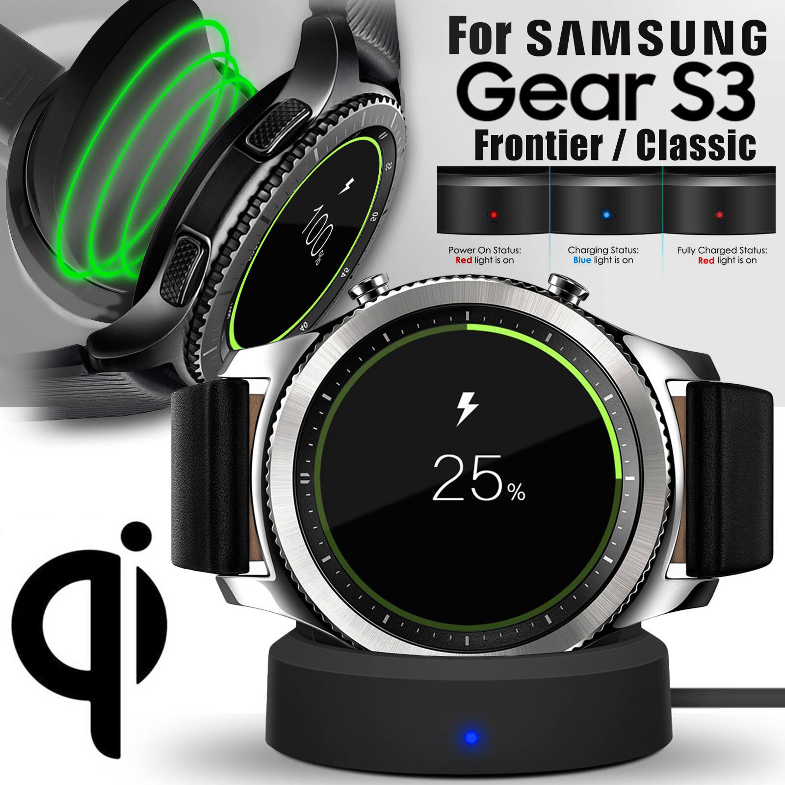 Wireless Charging Dock Cradle Charger Kit For Samsung Gear