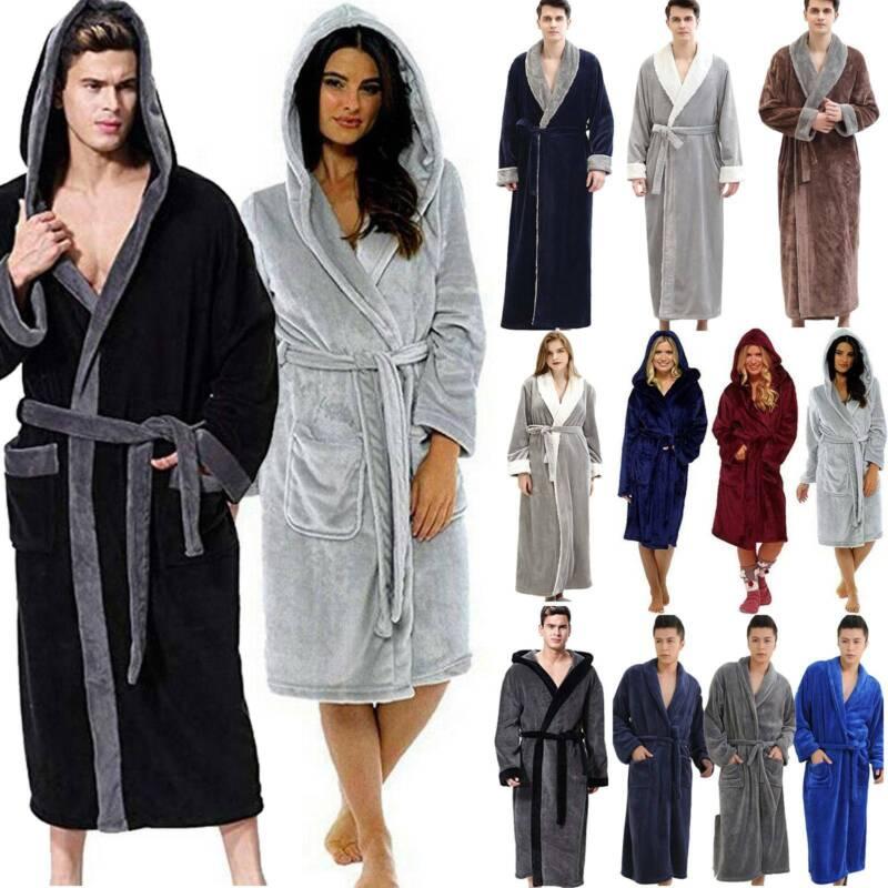 mens womens fleece hooded bathrobe dressing gown