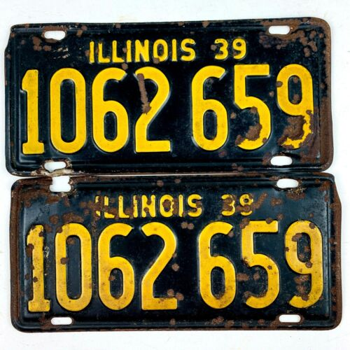 Illinois 1939 Vintage License Plate Pair Prewar Antique Car Set Man Cave Gift