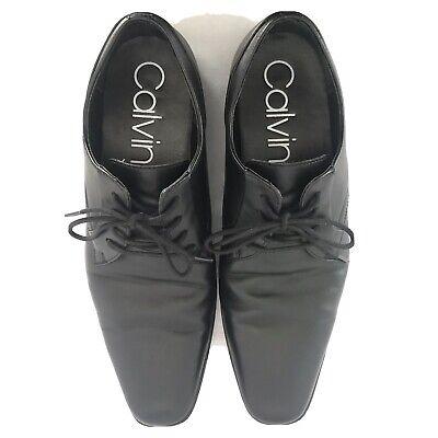 Calvin Klein Black Leather Oxfords Mens Dress Shoes Lace Up US Size 10.5