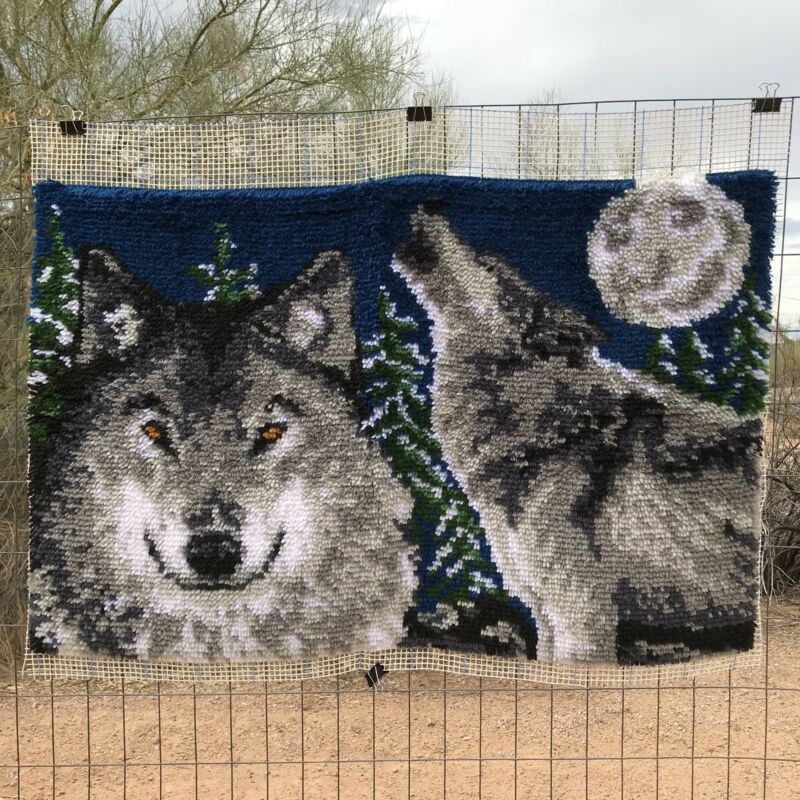 Wonderart Midnight Wolves Latch Hook Rug Completed 40x27""