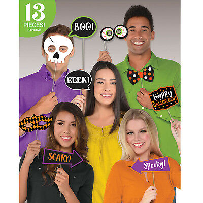 13 Piece Happy Halloween Weird Wicked Witch's Crew Party Photo Booth Prop Set