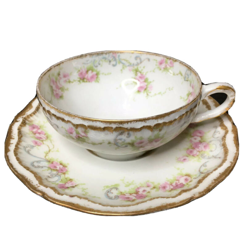 Antique Theodore Haviland Limoges Tea Cup Saucer Blue Scrolls  Pink Roses