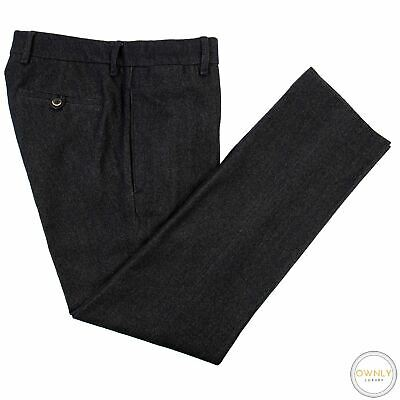 Lardini Brown Blue Melange Soft Tweed Wool Cotton Half Lined Flat F. Pants 32W