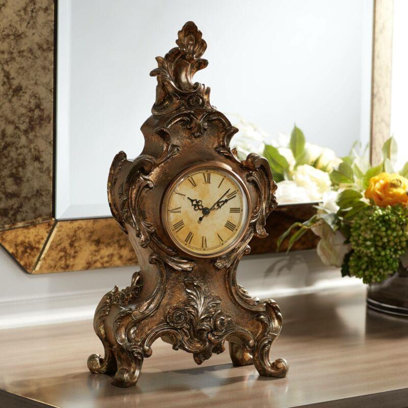 "Taryn Vintage Style 16 1/4"" High Table Clock"