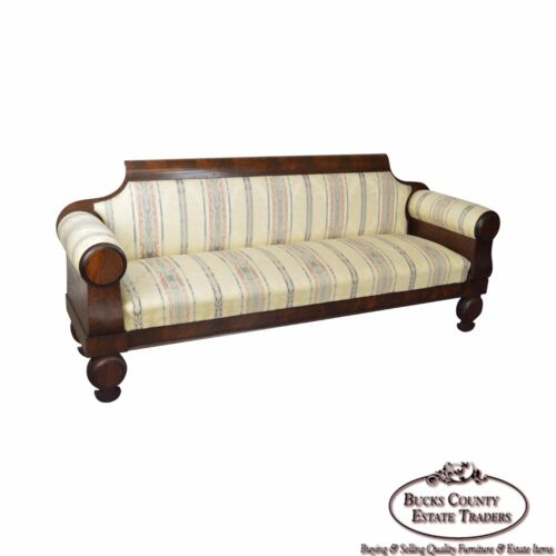 Antique Classical 19th Century Mahogany Baltimore Sofa John Needles