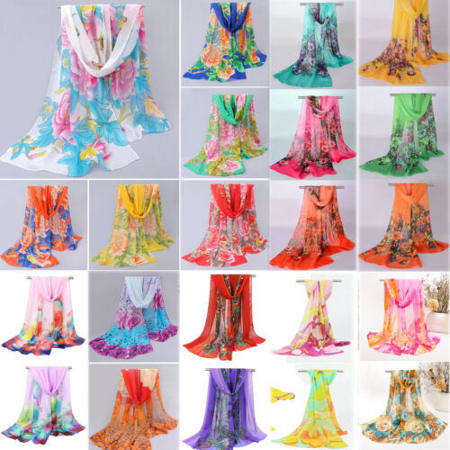 Scarf - New Fashion Women Soft Voile Cotton Scarf Wrap Silk Chiffon Shawl Stole Scarves