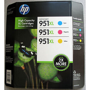 3-PACK HP GENUINE 951XL Color Ink (RETAIL BOX) 951 XL Officejet Pro 8600