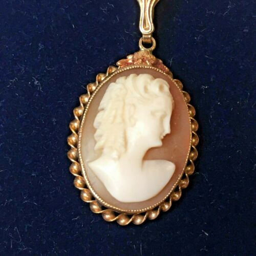 Antique Victorian 10K GOLD FILIGREE CAMEO NECKLACE Brooch - MASTER CARVED Semco