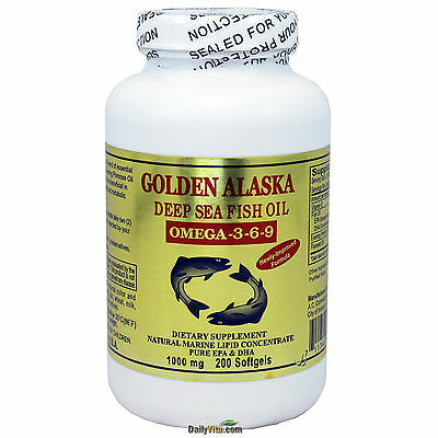 Golden Alaska Deap Sea Fish Oil Omega-3-6-9 EPA DHA 200 SGels, FRESH MADE IN USA