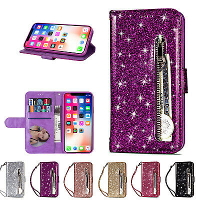 Bling Glitter Leather Wallet Card Flip Stand Zipper Case Fr iPhone XS Max/XR/7/8