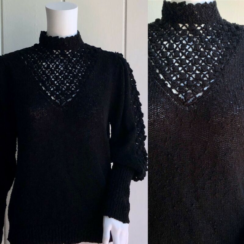 Vintage 80s Black Goth Victorian Slub Knit High Neck Puffed Sleeve Sweater L/XL