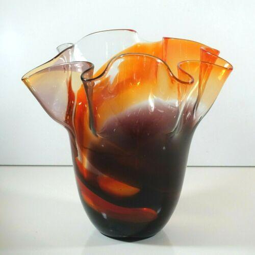 "Vintage Hand-Blown Art Glass Red Orange Brown Swirl Ruffle Top Vase 7.45"" Tall"