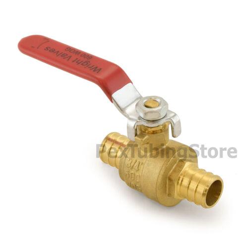 """(10) 3/4"""" PEX Crimp Style Shut-Off Brass Ball Valves for PEX Tubing, Full Port"""