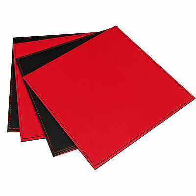 Pack of 4 Quality Faux Leather Dinner Table Place Mats – Red & Black