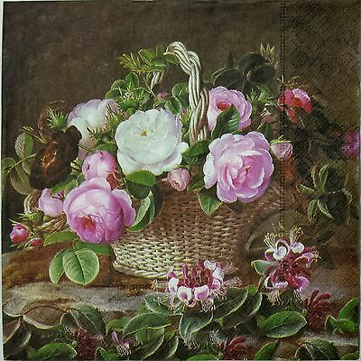 OLD ENGLAND ROSES 2 individual LUNCH SIZE paper napkins for decoupage 3-ply