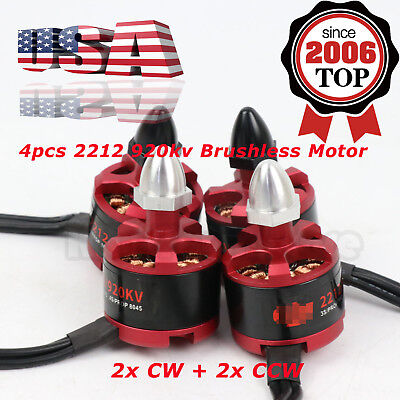 4Pcs 2212 920Kv Brushless Motor For Quadcopter Drone 2X Cw 2X Ccw 2 3S 7 12V Usa