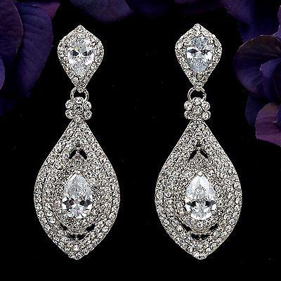 18K Gold Plated Clear Crystal Pearl Wedding Chandelier Drop Dangle Earrings 7056