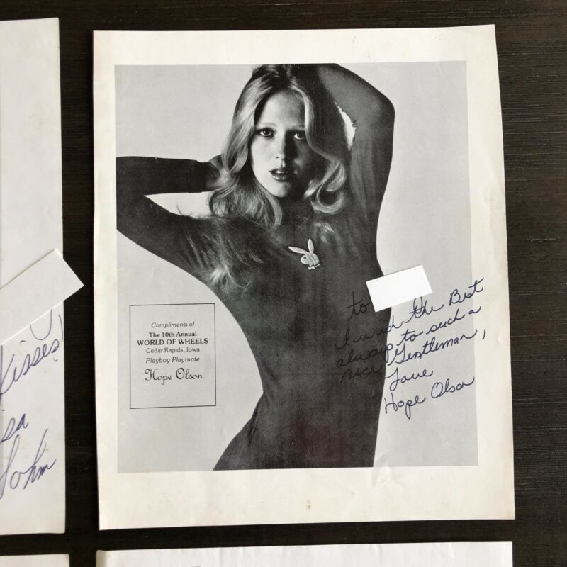 Vintage 70s Palyboy Hope Olson Autograph Photo Playmate Wheels Auto Car Signed