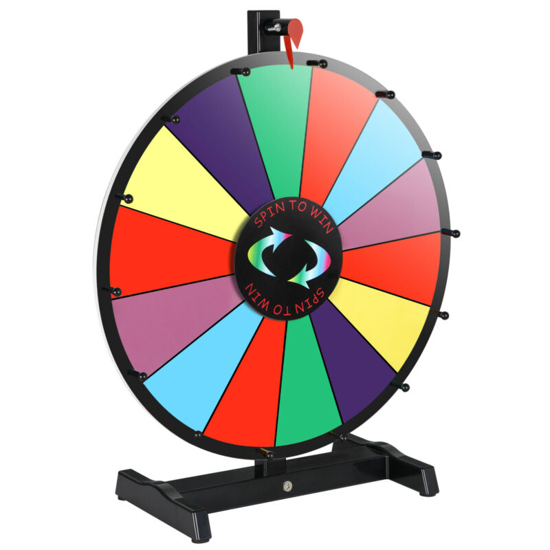 """18"""" Dry Erase Spinning Color Prize Wheel Tabletop Fortune Carnival Game Editable"""