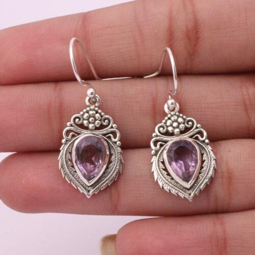 Amethyst Gemstone Dangle Earrings 925 Sterling Silver Jewelry For Women KB00923