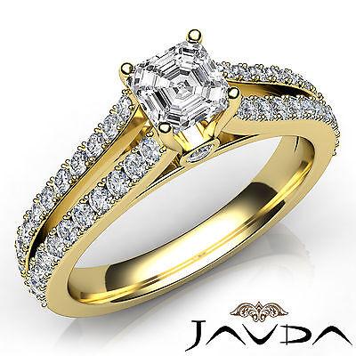 Asscher Diamond Engagement GIA H VVS2 18k Yellow Gold Split Shank Ring 1.15Ct