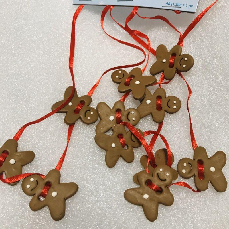 Miniature Gingerbread Man Christmas Tree Garland, Red Ribbon, Mini. 4 Feet