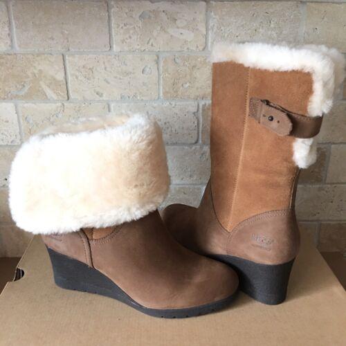 UGG Edelina Chestnut Waterproof Suede Cuff Wedge Short Boots
