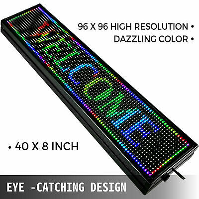 Used Led Sign 7 Color Programmable Scrolling Message Display 40 X 8