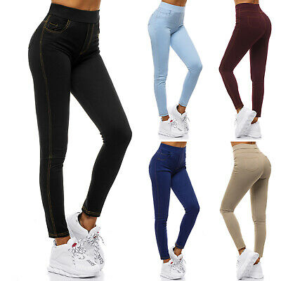 Damen Stretch Hose Jeans-Optik Röhre Skinny Leggings Leggins Treggings Jeggings