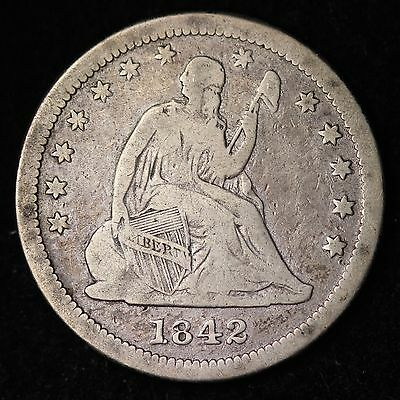 1842 O SEATED LIBERTY QUARTER CHOICE FINE