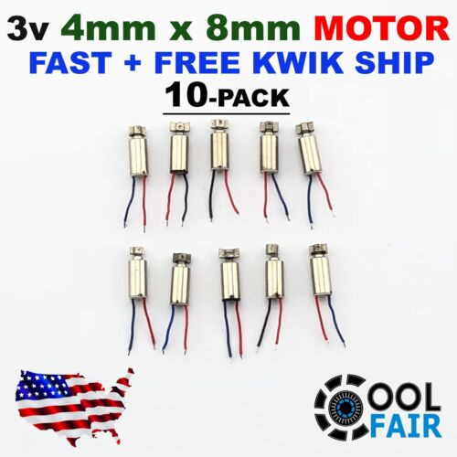 3V DC 4mm x 8mm Pager Cell Phone Vibration Motor Micro Vibrating US Ship 10-Pack