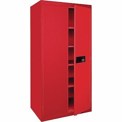Sandusky Lee Keyless Electronic Steel Cabinet-46w X 24d X 72h Red Ea4e462472-01