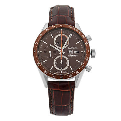Tag Heuer Carrera Steel Chronograph Brown Dial Automatic Mens Watch CV2013