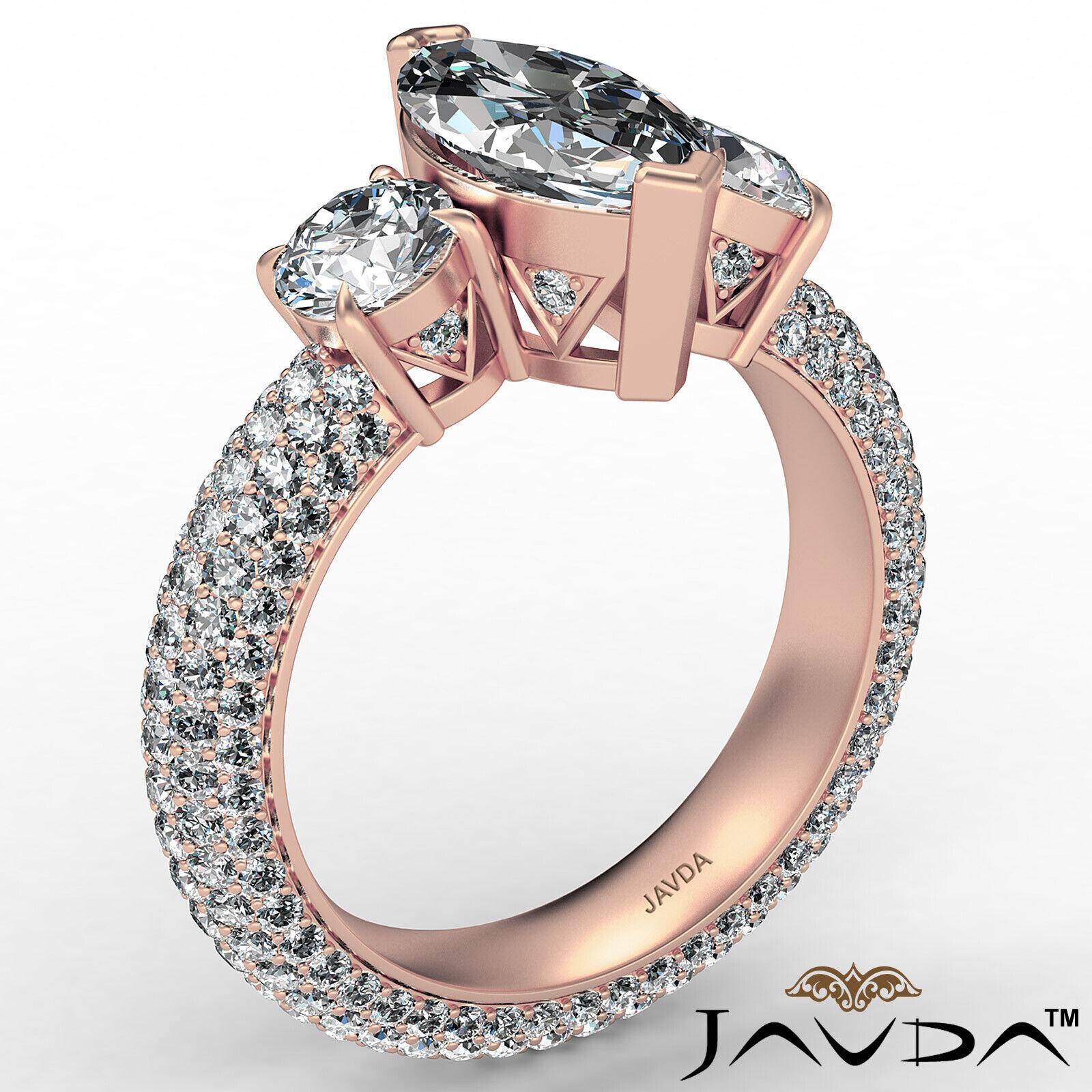 Marquise Diamond Engagement Pave Set Ring GIA K Color & VVS2 clarity 3.05 ctw 5