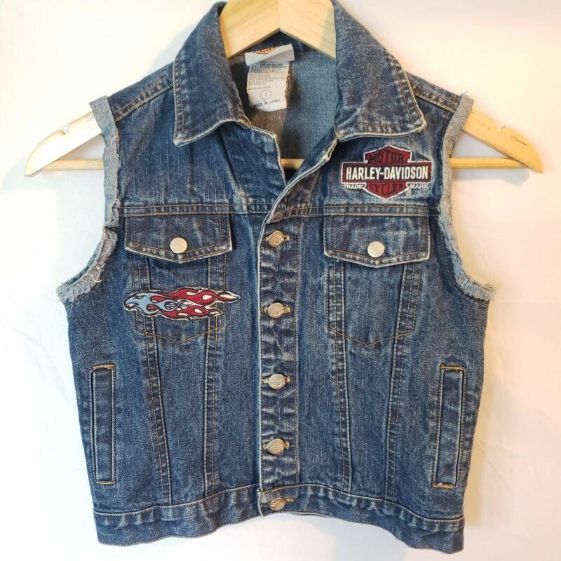 Harley Davidson Blue Jean Denim Vest Size 7 Embroidered Patches Official HD