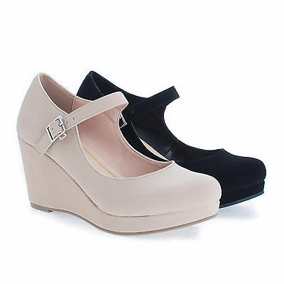Mark Round Toe Mary Jane Platform Wedge Dress Pump ()