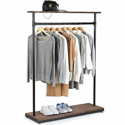 60-inch Rustic Industrial Wood Pipe Design Coat Rack Garment Display Stand