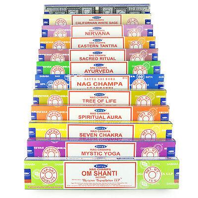 Genuine Satya Sai Baba Nag Champa Variety Set AA 12 x 15 gram Boxes of Incense