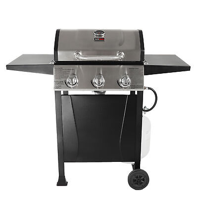 Grill Boss GBC1932M 3 Burner Gas Grill w/ Top Cover and Shelves, Stainless Steel
