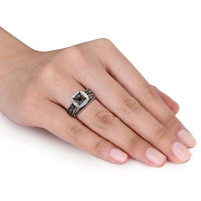 1.40Ct Cushion Black Diamond Bridal Set Engagement Ring 14K White Gold -