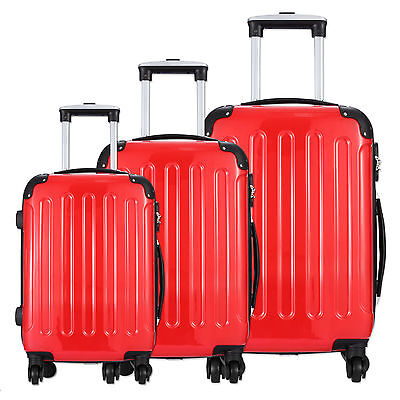 3 Piece Luggage Set Travel Spinner ABS PC Trolley Carry On Rolling Suitcase Red