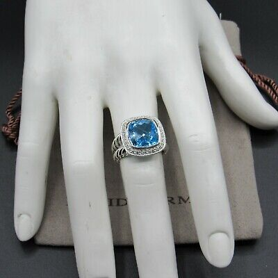 David Yurman Classic Ring Albion 11mm Blue Topaz With Diamond Size 6