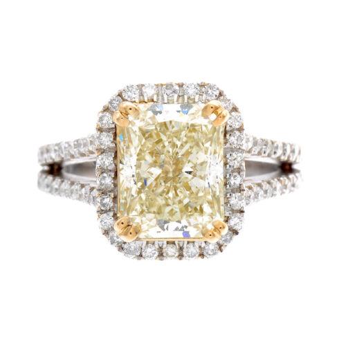 Vintage Style 2.25 CTW Radiant Diamond Engagement Ring Fancy Yellow GIA Platinum
