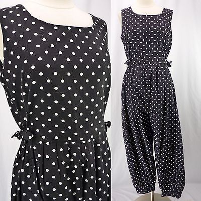 Vintage 80s Polka Dot TIE SIDES Playsuit Jumpsuit Romper Black White Tapered M/L