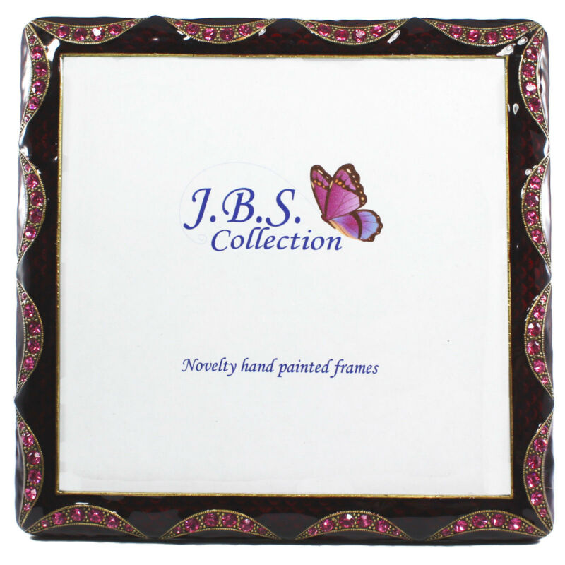 Bejeweled Crystal Wave Pattern Antique Look Square Photo Frame, Enamel Painted