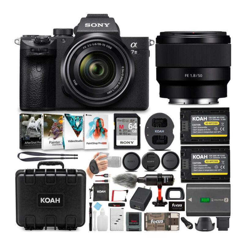 Sony a7 III Full Frame Mirrorless Camera with 28-70mm and FE 50mm f/1.8 Lens Kit